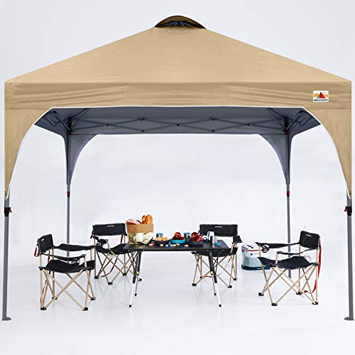 ABCCANOPY 3x3M Pavillon wasserdicht Pop-Up Gartenpavillon Festival Sonnenschutz Outdoor Baldachin Super Compact Canopy mit Rolltragetasche Bonus 4X Gewicht Taschen, 4X Seile 4X Pfähle,Beige