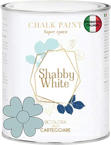 SHABBY WHITE CHALK PAINT Pittura Shabby Chic Vintage Mobili Pareti Altro Extra Opaca 40COLORI (500 ml, CARTA ZUCCHERO 3030-B)