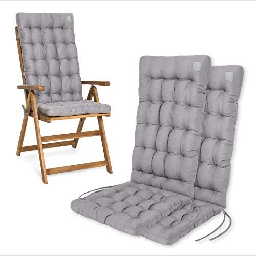 HAVE A SEAT Luxury | Gartenstuhlauflagen - Bequeme Hochlehner Polster Auflage, waschbar bei 95°C, Trockner geeignet, Sitzauflage für Gartenstuhl (2er Set - 120x48x8 cm, Hellgrau)