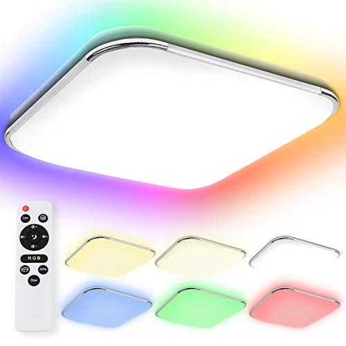 Hengda 36W LED Deckenleuchte RGB Farbwechsel Dimmbar Deckenlampe mit Fernbedienung Einstellbare Farbtemperatur Kaltweiß bis Warmweiß, Lampe für Schlafzimmer Wohnzimmer Küche, mit Nachtlichtfunktion