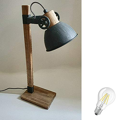 STEINHAUER 2665GR Strahler Retro Vintage Industrie Lampe Tischleuchte 1fl inkl. 7 Watt Filament Edison Vintage Led Lampe