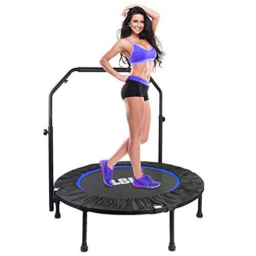 LBLA Fitness Trampolin Indoor Erwachsene Ø101cm, Mini Faltbares Trampolin mit höhenverstellbarer Haltegriff, Rebounder für Körpertraining und Aerobic zu Hause oder im Fitnessstudio, bis max. 150 kg