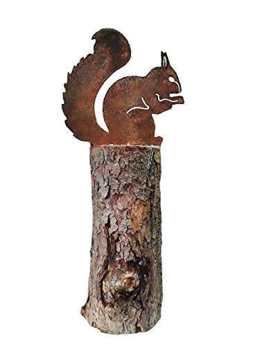Eichhörnchen sitzend; Baumstecker; Metall, Rost; 21 cm; Gartenstecker, Beetstecker
