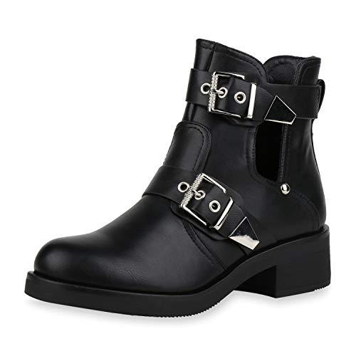 SCARPE VITA Damen Ankle Boots Cut Out Stiefeletten Schnallen Leder-Optik Schuhe Blockabsatz Booties...