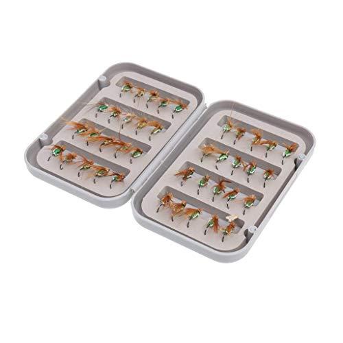 Caja de cebo 40 señuelos de pesca con mosca en caja impermeable con mosca, caja de pesca con moscas, moscas, moscas, caja de aparejos de pesca (color, verde), negro (color: verde)