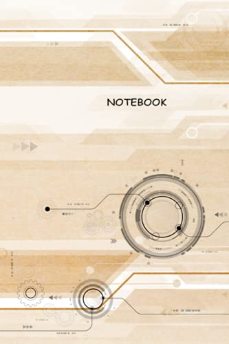"""NOTEBOOK: Technology gear with security lock and circuit board on brown cover - Composition Notebook - 6""""x9"""" with lines 120 pages"""