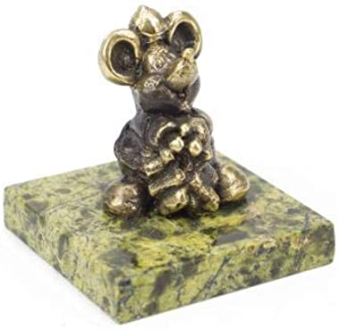 CTOC Mouse is Fat Bronze Statuette Handmade Figurine on Natural Ural Rock Original Paperweight Super Present and Home Decorat