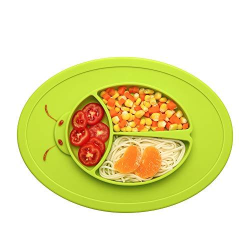 Baby Teller Silikon Tischset Kinder Rutschfest Abwaschbar Teller Babyteller mit Saugnapf Platzdeckchen Teller für die Meisten Esstische und Hochstuhl-Tabletts