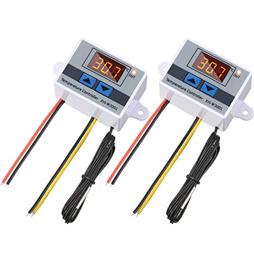 2 Pieces XH-W3001 Digital LED Temperature Controller Module Digital Thermostat Switch with Waterproof Probe Programmable Heating Cooling Electronic Thermostat Range from -50℃ to 110℃ (12V 10A 120W)
