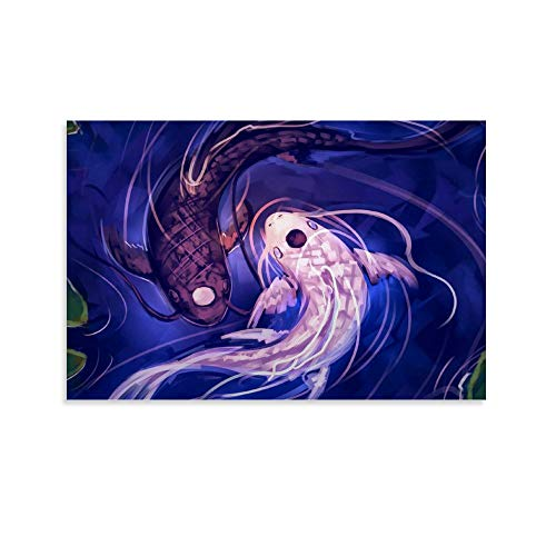 LKOIU Koi Fish Yin Yang Canvas Art Poster and Wall Art Picture Print Modern Family Bedroom Decor Posters 08x12inch(20x30cm)