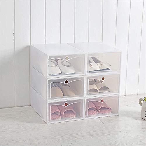Chengzuoqing Caja de zapatos plegable de plástico transparente con 6 cajones para zapatos de hombre y mujer (tamaño: 31,5 x 21,3 x 12 cm; color: blanco)