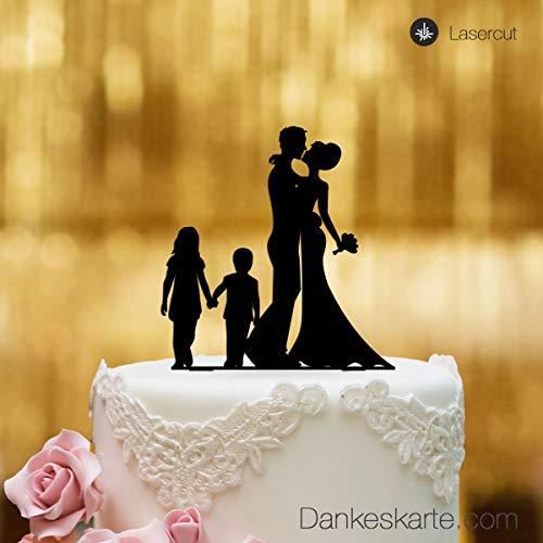 Figura para decoración de tarta de bodas, cristal acrílico negro, tamaño XL, para decoración de tartas, diseño de pareja de novios con niños y Mr and Mr