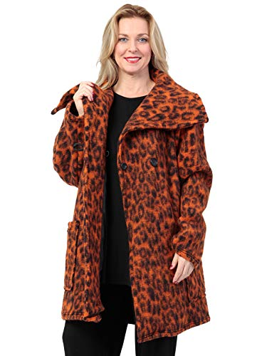 AKH FASHION Kurzmantel Wolle Damen Animal Print Leo, Oversize Jacke orange Damen große Größen A-Linie, XXL Mantel Damen gestreift