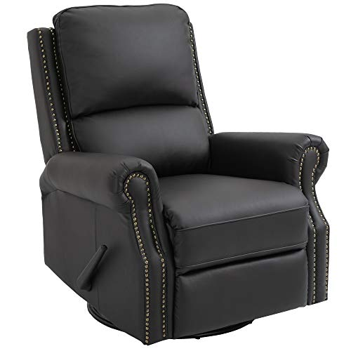 HOMCOM Manual Recliner Chair PU Leather Office Home Theater Single Sofa with Arm, Footrest, Nailhead Trim Padded Seat, 360° Swivel and Rocking Function for Living Room Bedroom Brown
