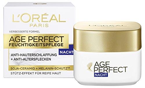 L'Oréal Paris Age Perfect Gesichtspflege, mit Soja-Ceramid für die Nacht, mildert Altersflecken und strafft die Haut, 50 ml