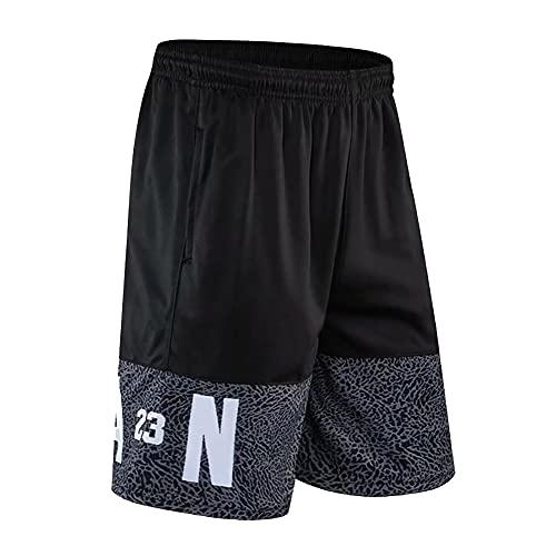 ACCZ Pantaloncini Jordan Uomo, Shorts Uomo Sportivi, Pantaloncino Basket NBA, Pantaloni Uomo Cotone Leggero con Tasche,Nero d,M