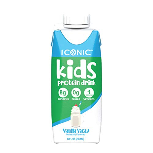 Iconic Kids Protein Shake, 8oz (12 Pack) | Zero Sugar, 100% DV Vitamin D3, Organic Veggies & 8g Grass Fed Whey Protein | Lactose Free, Soy Free, Gluten Free | Healthy Snacks for Kids (Vanilla Vacay)