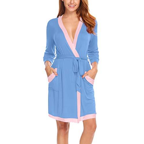 Susenstone Pyjama Femme Hiver Chaud Robe Kimono De Nuit Pas Cher Lingerie De Nuit Sexy Col V Chic Robe De Chambre VêTements De Nuit