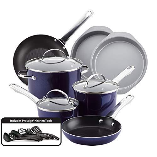 Farberware Luminescence Nonstick Cookware Pots and Pans Set, 16 Piece, Sapphire Shimmer