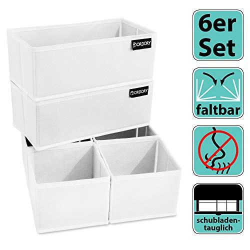 Ordory® Premium Aufbewahrungsbox 6er-Set - hochwertige Faltbare Stoffbox Weiss – der perfekte Organizer für die ganze Familie