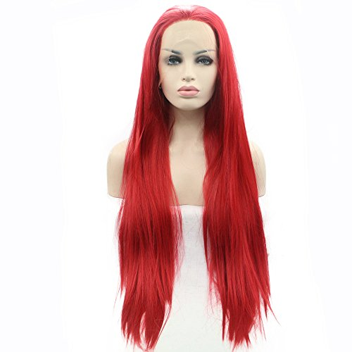 Women Female Cosplay Red Wig Natural Hairline Synthetic Lace Front Wigs For Drag Queen 24""