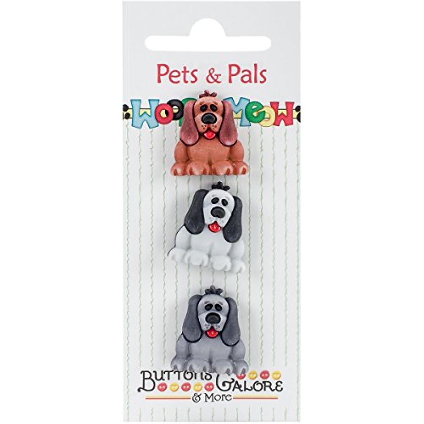 Buttons Galore PP122 Pets & Pals Buttons (3 Pack), Pups, Multicolor
