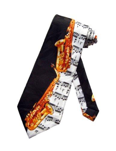 Steven Harris cravate saxophone Noir - cravate pour homme taille unique