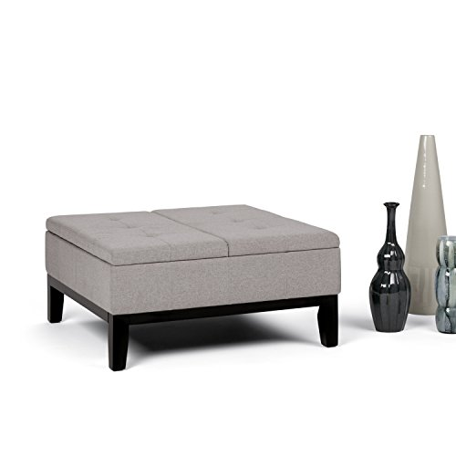 SIMPLIHOME Dover 36 inch Wide Square Coffee Table Lift Top Storage Ottoman, Cocktail Footrest Stool in Upholstered Cloud Grey Tufted Linen Look Fabric for the...