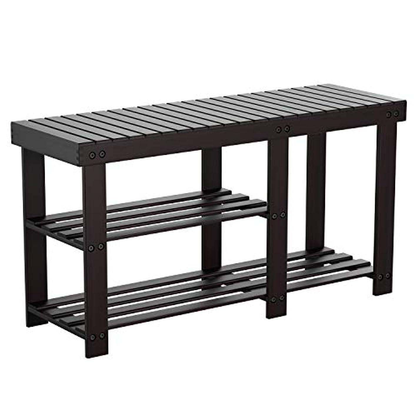 HOMFA Bamboo Shoe Rack Bench 2 Tier Boot Organizing Rack Entryway Storage Shelf Hallway Furniture Retro Color