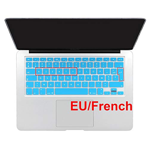 HOUBL Gradient Color Silicone French AZERTY Spanish Keyboard Cover Skin For Macbook Pro 13' 15' 17' Air 13' imac Wireless keyboard (EU French Sky blue)