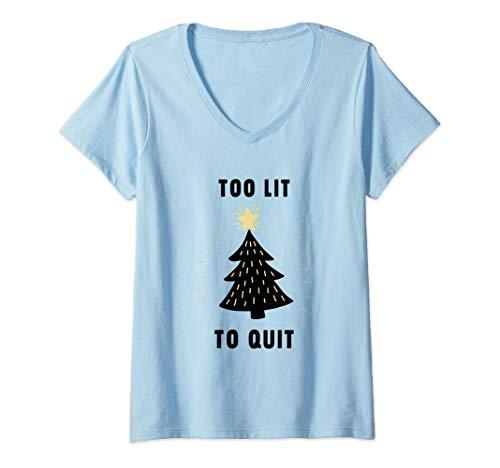 Mujer Demasiado iluminado para salir, 2020 No dejar de fumar Camiseta Cuello V