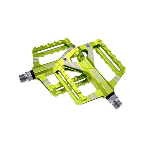 Zeroall Pedali Bici Lega di Alluminio Pedali Bicicletta 9/16' con Superficie Antiscivolo e Cuscinetti sigillati Bike Pedals Piattaforma Pedale da Ciclismo per Bici da Strada Città MTB(Verde)