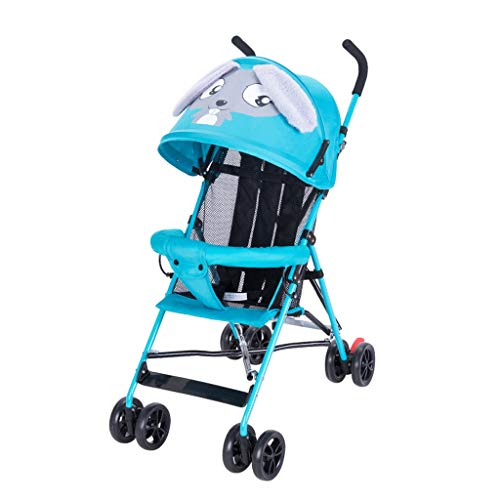 Poussette bébé Peut s'asseoir inclinable Enfant été Pliant Simple bébé Poussette Petit Parapluie léger (Color : Blue)