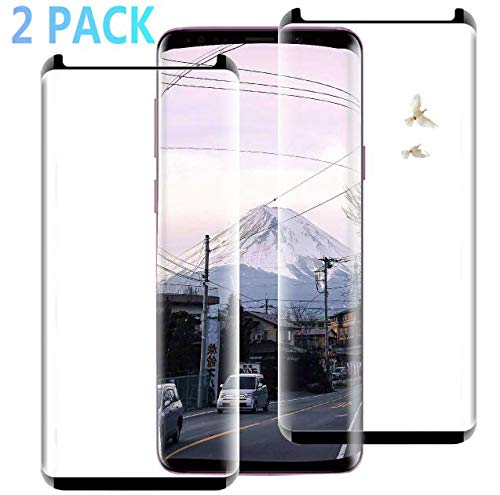 Galaxy S9 Screen Protector, Tempered Glass Screen Protector,3D Curved Edge Full Coverage Bubble Free Case Friendly 9H Hardness HD Clear Film Screen Protector Compatible with Samsung Galaxy S9 (2 Pack)