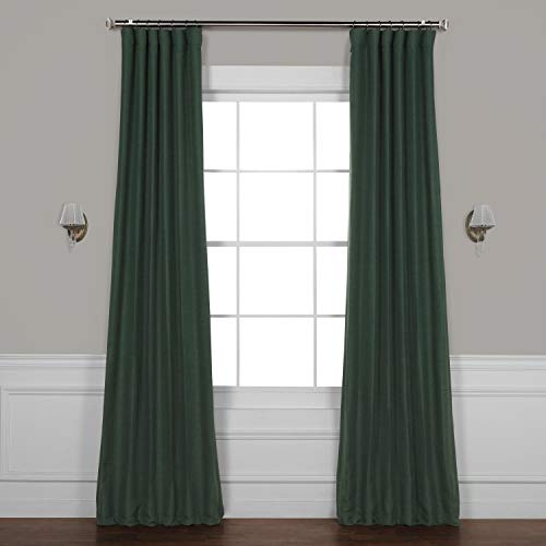 HPD Half Price Drapes BOCH-PL1806-96 Bellino Blackout Room Darkening Curtain (1 Panel), 50 X 96, Pine Forest Green