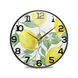 BOLIMAO Yellow Lemon Round Acrylic Wall Clock with Removable Silicone Edging Non Ticking Silent Clocks for Home Decor Living Room Kitchen Bedroom Office School
