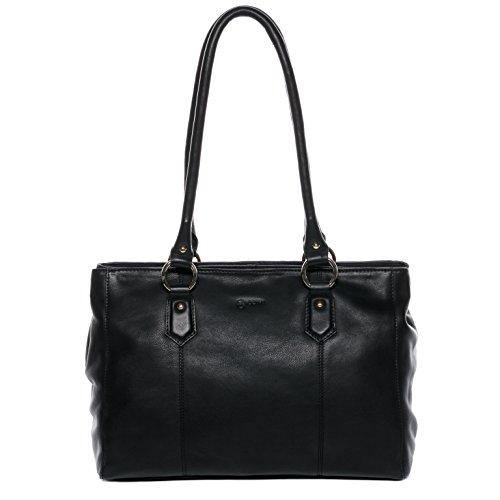 BACCINI Handtasche mit Langen Henkeln echt Leder Noell groß Henkeltasche Schultertasche Ledertasche Damen schwarz