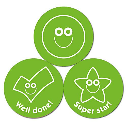 Groene Smileys en Teken Stickers (38mm) - 10 Sheet Pack