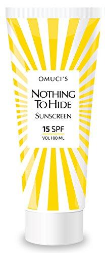 """Der umweltfreundliche Sonnenschutz """"Nothing to Hide"""" von Omuci, Veganer-freundlich, mit natürlichen Inhaltsstoffen. UVA- + UVB-Schutz.(15 SPF, 100ml)"""
