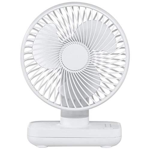 Ventilador de escritorio, mini ventilador portátil sin ruido, recargable por USB, 4000 mAh, con base de silicona antideslizante, para casa, oficina, verano, dormitorio, color blanco