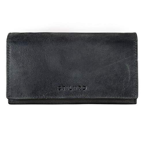 STILORD \'Marquesa\' Leder Geldbörse Damen RFID Schutz NFC Portmonnaie Damen Vintage Geldbeutel Groß Quer mit Ausleseschutz in Geschenkbox Echtleder, Farbe:anthrazit