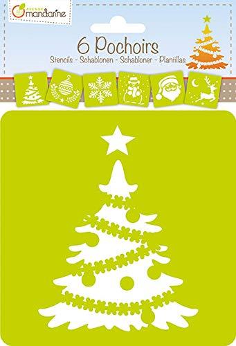 Avenue Mandarine 42455MD Schablonen Set, mit 6 Schablonen, 15 x 15 cm, geeignet für Kinder ab 3 Jahre, für Filz- und Farbstifte, Farben oder Farbbomben, Weihnachten 2, 6er Pack