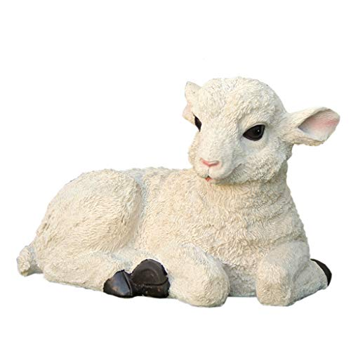 Best Value Here Resin White SHEEP Ram Lamb Animal Garden Planter Patio Ornament Sculptures Statue Two Types Standing Up/Laying Down (Lamb)