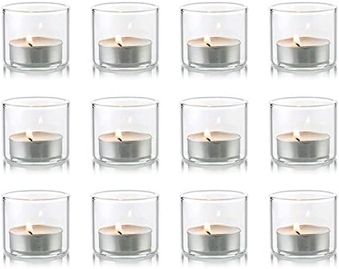 Nuptio Clear Glass Votive Candle Holders Set of 12 Mini Tealight Holder 1 8 inches x 1 57 inches product image