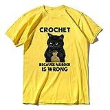 Camiseta de los hombres de la moda de gato negro divertido ganchillo porque el asesinato es equivocado, unisex, regalo 100% algodón camiseta XS-3XL