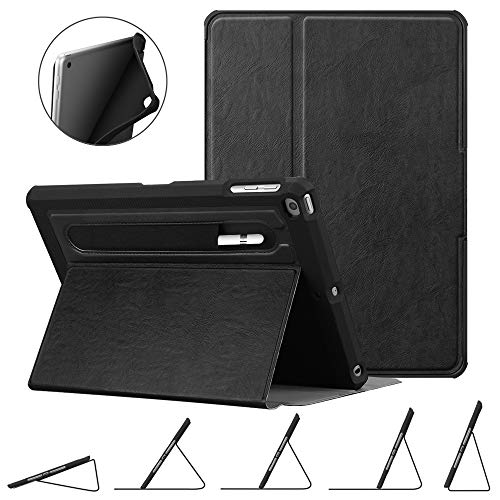 FINTIE Custodia in TPU per iPad 9.7 2018 2017 / iPad Air 2 / iPad Air - [Protezione Angolo] Multi-Angolo Cover Protettiva con [Secure Pencil Holder] Auto Sleep/Wake per iPad 6/5 Gen, Nero