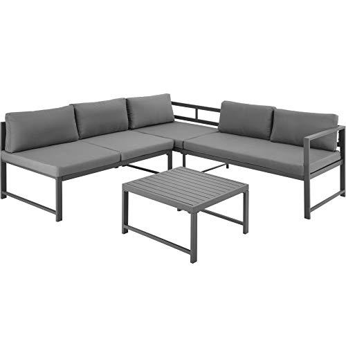 TecTake 403903 Aluminium Sitzgruppe für Garten, Balkon und Terrasse, wetterfest, 6-Fach verstellbare Rückenlehne, inkl. weiche Sitz- und Rückenkissen, grau - 4