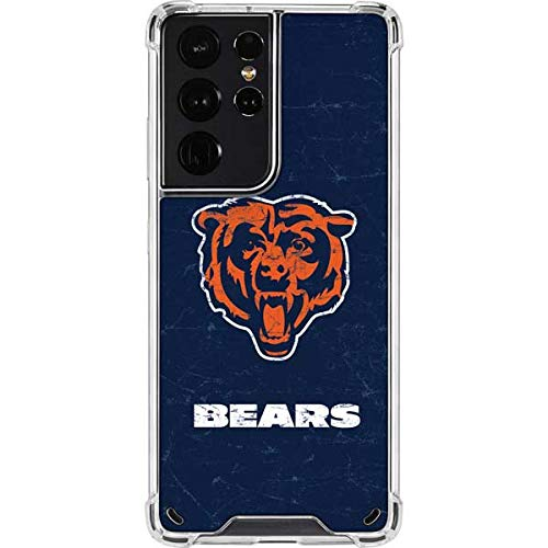 Skinit Clear Phone Case Compatible with Samsung Galaxy S21 Ultra 5G - Officially Licensed NFL Chicago Bears - Alternate Distressed Design
