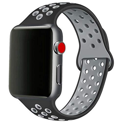 SSEIHI Armband Kompatibel mit Apple Watch 42mm 44mm,weiches Silikon Sport Ersatzband für Armband für iWatch Serie 5/4/3/2/1,Sport, atmungsaktiv, wasserdicht,S/M,Black Gray
