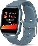 Reloj inteligente con medición de temperatura, monitor de ritmo cardíaco, presión arterial, fitness, reloj inteligente para mujer (color: gris) - azul hierro gris